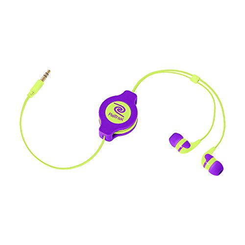Retrak Retractable Stereo Earbuds, Neon Purple/Yellow (Etaudnrlye)