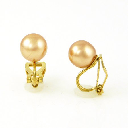 3D Classic Pearl Clip On Earrings - Champagne 8mm on Gold