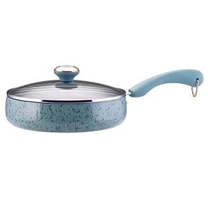 Paula Deen Signature Porcelain 2.75-Qt Saute Pan, Aqua Speckle