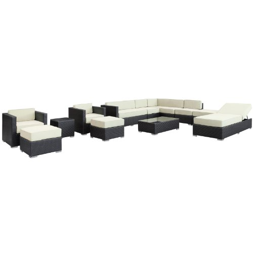 LexMod Fusion 12-Piece Outdoor Rattan, Espresso with White Cushions