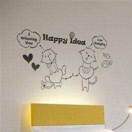 Couple Cat With Happy Idea Letter Children'S Baby Nursery Kids Bedroom Plane Wall Decal Stickers front-458246