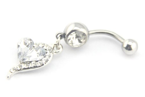 Baqi 14 Guage White Rhinestones Heart Dangle Belly Navel Bar Ring Body Jewelry Clear