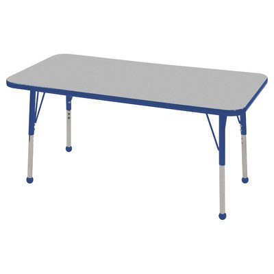 """Ecr4Kids 24""""X48"""" Rectangular Height Adjustable Activity Table Gray With Standard Ball Glide Legs Yellow front-883548"""