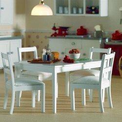 Dolls-House-Tisch-4-Sthle-wei-Puppenhaus-3665