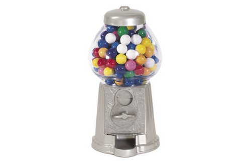 "Carousel Classic Gumball Machine Bank, 12"" tall - Die cast Metal Glass Globe (9"", Chrome)"