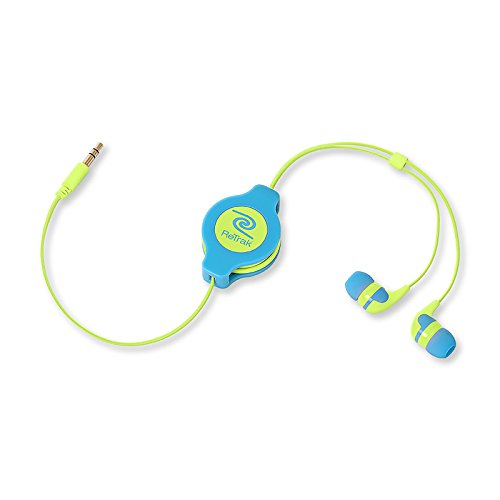 Retrak Retractable Stereo Earbuds, Neon Blue/Yellow (Etaudnbuye)