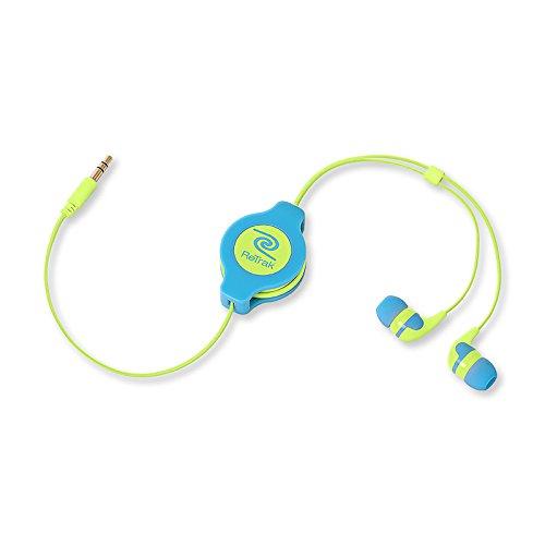 Retrak Retractable Stereo Earbuds, Neon Blue/Yellow (Etaudnbuye)