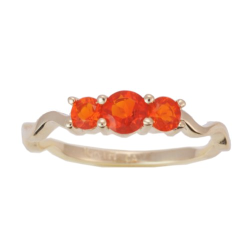 10K Yellow Gold Fire Opal Exotic Gemstone Trinity Curve Ring, Size 6