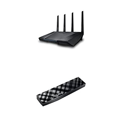 ASUS RT-AC87U Wireless-AC2400 Dual Band Gigabit Router & Asus (USB-AC56) Dual-band Wireless-AC1200 USB 3.0 Wi-Fi Adapter