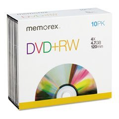 - Dvd+Rw Discs, 4.7Gb, 4X, W/Jewel Cases, 10/Pack