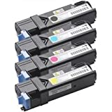 (2,500 Pages) High Yield (B, C, M, Y) Compatible Dell 2130cn, 2135cn Color Laser Toner Cartridges Combo