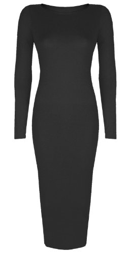 Womens Ladies Celebrity Inspired Long Sleeve Bodycon Midi Calf Length Dress - Normal and Big Sizes (M/L (12-14), Black)