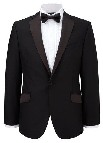 Austin Reed Black Satin-Trimmed Lapel Dress Jacket SHORT MENS 42