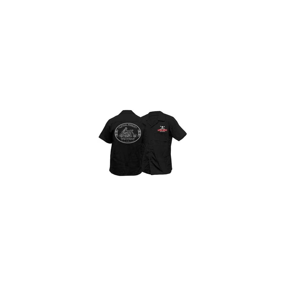 Lethal Threat Designs Lt Custom Motorcycle Polo Shirt Mediumblack