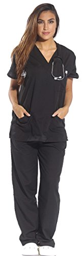Just Love Women's Black Scrub Set - Large