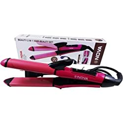 CPEX NOVA NHC-2009 2 in 1 HAIR Beauty Set Curler and Straightener (Pink)