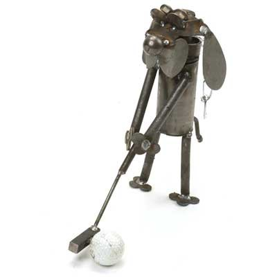 Mini Golfer Dog Recycled Metal Sculpture