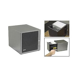 One Touch Cd Box, Holds 80 Cds, Dk Silver