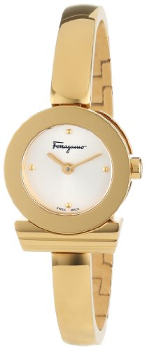 Ferragamo Women's FQ5040013 Gancino Bracelet Yellow Gold Ion-Plated Stainless Steel Silver Sunray Dial Watch