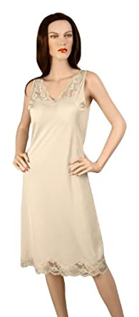 Gemsli Elegance, Nylon Full Slip with Stretch Lace, Cling Free, 32-39 Inch Taupe