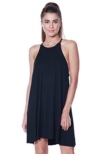 A+D® Womens Knit Halter Neck Spaghetti Swing Dress (S-XL) (Black, Medium)