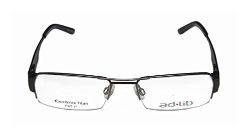 [Ad.lib 3102 Mens/Womens Rectangular Half-rim Titanium Eyeglasses/Glasses (53-18-140, Gray / Dark] (Matt Smith Halloween Costume)
