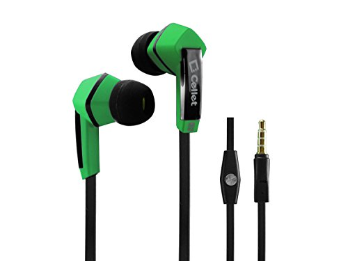 Cellet Square 3.5Mm Flat Wire Stereo Hands-Free Ear Buds - Retail Packaging - Green/Black