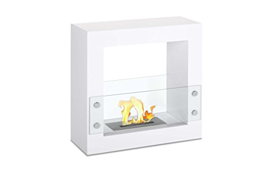 Ventless Ethanol Fireplace - Tectum Mini White, Freestanding Ethanol Fireplace By Ignis