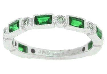 0.59ct Genuine Emerald and Diamond Wedding Band,14Kt White Gold-J