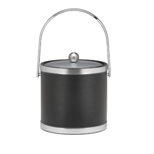 Kraftware Brushed Chrome Ice Bucket With Track Handle And Metal Cover, Black - 3 Quart