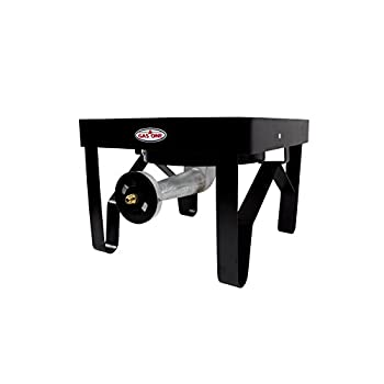 GAS ONE 200,000 BTU Square Heavy- Duty Single Burner Outdoor Stove Propane Gas Cooker with Adjustable 0-20PSI Regulator and Steel Braided Hose Perfect for Home Brewing, Turkey Frying, outdoor cooking