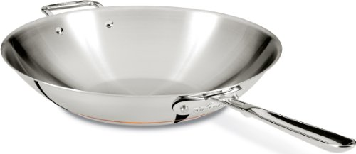 All-Clad 6414 SS Copper Core 5-Ply Bonded Dishwasher Safe Open Stir Fry Pan / Cookware, 14-Inch, Silver (All Clad Fry Pan 14 Inch compare prices)