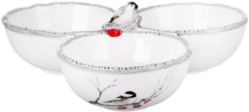 Attractive Chick Designed White Ceramic 3-Part Divided Serving Dish, Sectional Serving Tray Party Centerpiece, Chick Dish