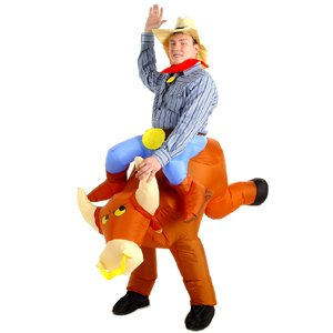 Esecure - Inflatable Bull Riding Cowboy Costume Rodeo Fancy Dress Costume