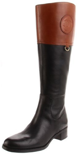 Etienne Aigner Women's Chastity Wide Shaft Riding Boot,Black/Banana Bread,8.5 M US