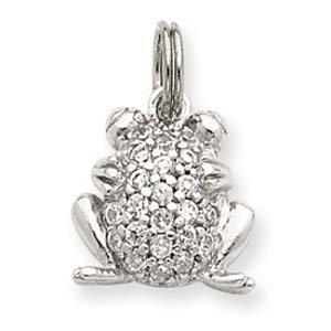 PriceRock Sterling Silver CZ Frog Charm