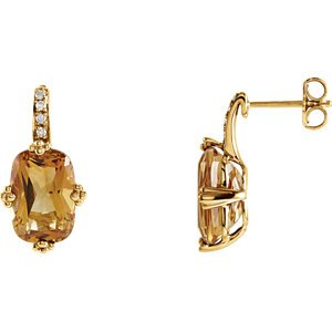 Genuine IceCarats Designer Jewelry Gift 14K Yellow Gold Genuine Citrine And Diamond Earrings. Pair 12.00X08.00Mm/.06 Ct Tw Genuine Citrine And Diamond Earrings In 14K Yellow Gold