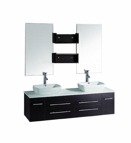 Virtu USA UM-3051-ES Augustine 60-Inch Wall-Mounted Double Sink Bathroom Vanity