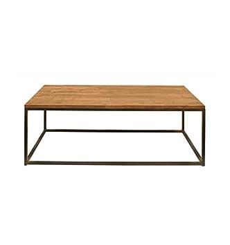 Mesa de centro en forja Zoe - Gris sumi, Gris sumi patinado, Mesa de centro con sobre de madera