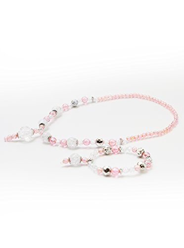 Little Adventures Necklace and Bracelet Princess Accessory Sets - Pink/Silver