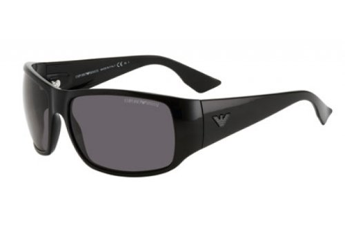 Emporio Armani Men's 9666 Shiny Black Frame/Grey Lens Plastic Sunglasses
