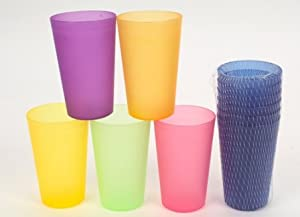 Colourful Tall Tumblers Plastic Picnic Cups 6pc