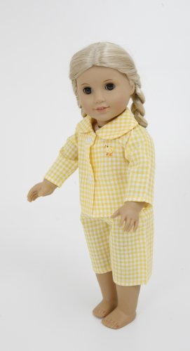 YELLOW CHCKED CHICK PYJAMAS FOR 14-18INCH DOLLS AND BEARS