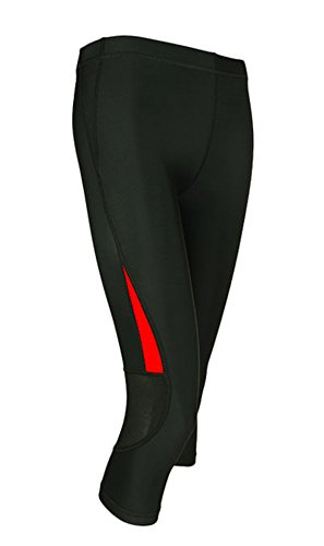 Jagger Women s Contrast Slim Outdoor Sportswear Running Cycling Capri Pants  M Red 44ce40f96