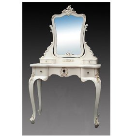 French Style Antique White Dressing Table with Mirror