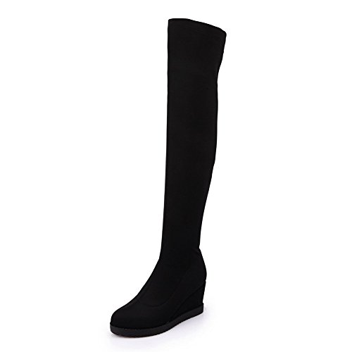 voguezone009-womens-solid-fabric-boots-with-flexible-thigh-highs-and-thread-black-40