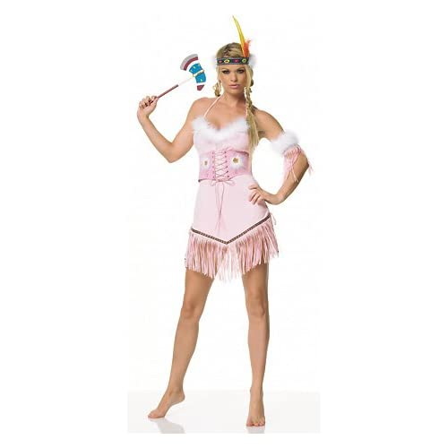 Adult Halloween Costumes: Sexy Teens in Pink Indian - Sexy Indian Costume Lingerie Outfit
