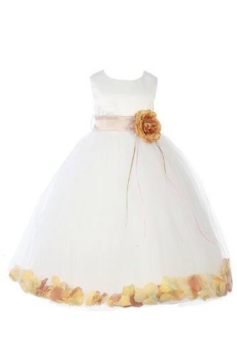 Jm Dreamline White/Gold Girls Sleeveless Satin Flower Petal Dress With Sash-4