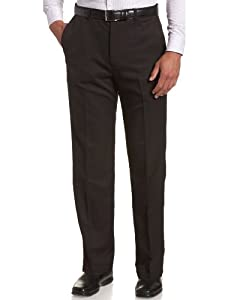 Haggar Men's Cool 18 Hidden Expandable Waist Plain Front Pant,Black,36x32