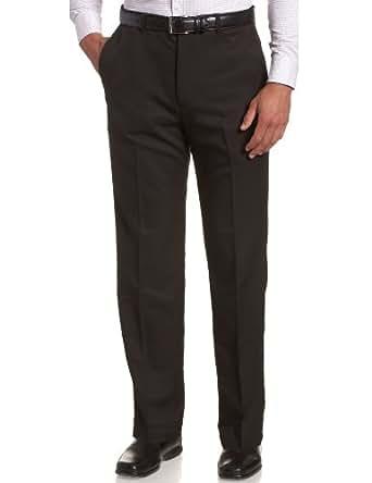 Haggar Men's Cool 18 Hidden Expandable Waist Plain Front Pant,Black,30x30